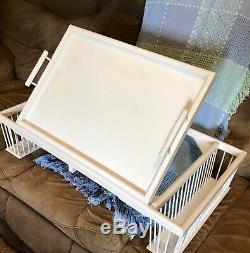 Vintage White Wooden serving tray breakfast tea home decor kitchen lap table