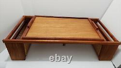 Vintage Wicker Rattan Lap Bed Serving TV Tray adjustable LinRose Inc. Large