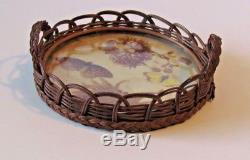 Vintage Wicker Round Serving Tray With Butterflies and Plants -1930's EUC
