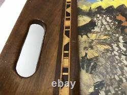 Vintage Wood & Glass Butterfly Wings Large Serving Tray Wall Hanging 20 X 13