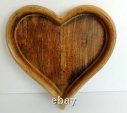 Vintage Wood Heart Tray Dish Bowl Teak 13 x 13 Woodenware