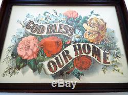 Vintage Wood Serving Tray Framed Bless Our Home Currier & Ives Repro Print 15x11