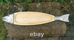 Vintage Wood Wooden Salmon Fish Serving Tray Caviar Cutting Board (Sweden) 30