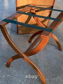 Vintage Wooden Luggage Rack with Removable Serving Tray