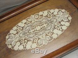 Vintage Wooden Mahogany Ornate Serving Tray Glass Top Lace Coffee Tea Wood