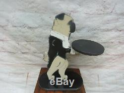 Vintage Wooden Pug Dog Butler Table Stand with Small Serving Tray -Rare