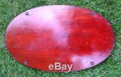Vintage Wooden Serving Tray Oval Inlaid Center With Handles