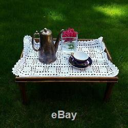 Vintage Wooden Veneer Breakfast in Bed Tray Table Serving Folding Legs Brown