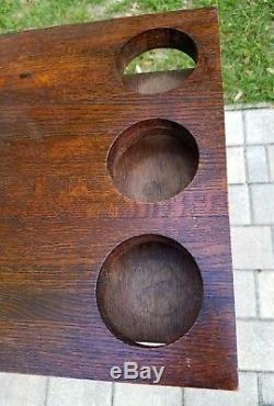 Vintage folding portable bar oak wood table tea serving tray butler stand