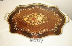 Vintage handmade Italian inlaid floral marquetry wood brass serving tray dish