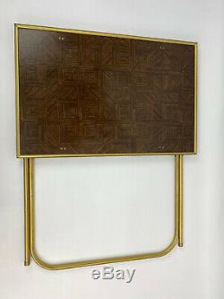 Vintage lot of 4 Standing TV Trays With Stand Faux Parquet Wood Gold Trim MCM