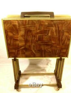 Vintage lot of 6 TV Trays With Cart Faux Parquet Wood Mid Century Modern Retro