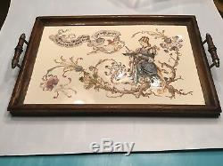 Vintage pre-1900 German Ceramic Hand Painted Tile Serving Tray with Wood Frame