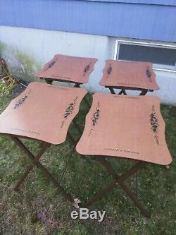 Vintage rare. 1960's Set of (4) ARTEX Folding TV Tray Snack Serving Tables Stand