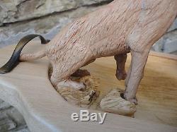 Vintage signed hand carving wood serving tray platter Plateau Hunting Dog rabbit