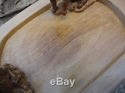 Vintage signed hand carving wood serving tray platter Plateau Hunting Dog rabbit