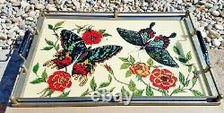 Vntg AWESOME BUTTERFLY Mid Century Reversed Painted & Wood Cocktail Serving Tray