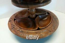 Vtg 1970's 3 Tier Tiki Hand Carved Monkey Pod PINEAPPLE Lazy Susan Serving Tray