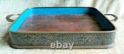 Vtg Antique CLOISONNE Sides & Handles SERVING TRAY with WOOD BOTTOM 10x10 +Feet