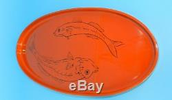 Vtg. FREEMAN LEDERMAN JAPAN HAND PAINTED KOI FISH ENAMEL WOOD CENTERPIECE TRAY