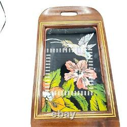 Vtg Iridescent Blue Morpho Butterfly Wing Hummingbird Hibiscus Inlaid Wood Tray