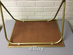 Vtg Lot Of 4 Standing Tv Trays With Stand Faux Parquet Wood Gold Trim MCM