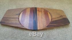 Vtg Mid Century Modern Viking Eye Danish Serving Board Platter Wood Tray
