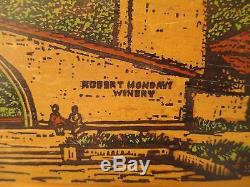 Vtg Robert Mondavi Winery Napa Valley CA. Colorful Scene Wood Tray Wall Art RARE