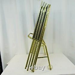 Vtg Set 4 Faux Wood Grain Metal TV Trays w 2 Wheel Collapsible Stand MCM Gold