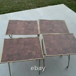 Vtg Set 4 Faux Wood Grain Metal TV Trays w 4 Wheel Collapsible Stand MCM Gold