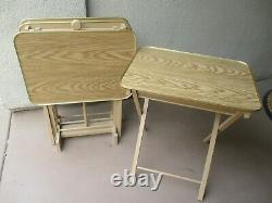Vtg Set Of 4 Faux Wood Grain TV Trays Tables With Stand Mid Century Modern NICE