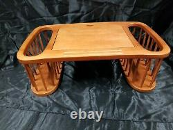 Vtg Solid Wood Bed Serving Tray Double Magazine Rack