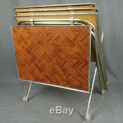 Vtg TV Trays and Rack on Wheels Faux Wood Metal Legs 70s Set of 4