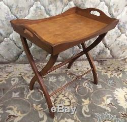 Vtg Wood Butler Removable Breakfast Serving Tray Table Curved Leg Folding Stand