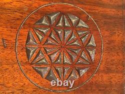 Vtg Wood Mahogany Serving Tray with Pressed Star Design Metal Handles Felt Bott