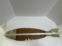 Vtg Wood Metal 34 Salmon Fish Caviar Serving Tray Charcuterie Cutting Board Jap