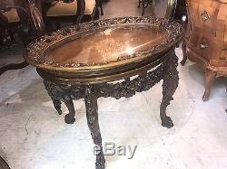 WALNUT Pierced Carved Oval Inlaid Coffee Table with Glass Serving Tray