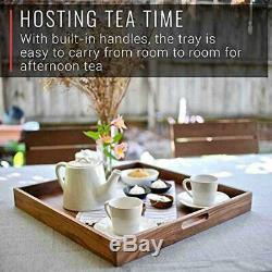 Walnut Wood Serving Tray with Handles Serve Coffee, Tea Breakfast in Bed 20x20 S