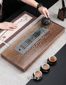 Wenge Wood Tea Tray Black Stone Tea Table Water Draining Serving Tray Large Tray