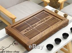 Wenge wood tea tray handmade carved solid wood tea table plastic layers L56.5cm