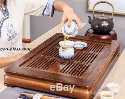Wenge wood tea tray with plastic drawer reservoir / water draining tea table new