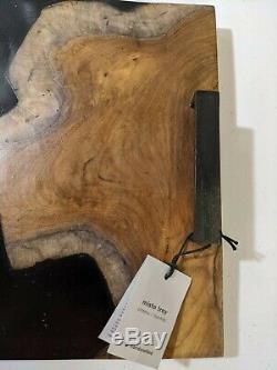 West Elm Black & Brown Teak Wood Stone Resin Misto Serving Tray 15.75w x 11.8l