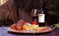 Wine Barrel Serving Tray Stainless Steel Handles