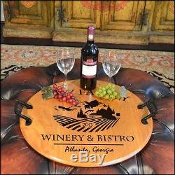 Winery & Bistro Barrel Head Serving Tray withWrought Iron Handles, Home or Bar