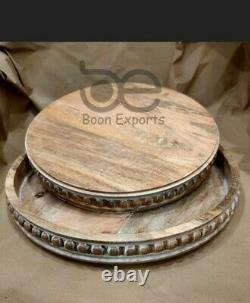 Wood Beaded Tray Decorative Farmhouse Style Distressed Whitewashed Wooden Tray