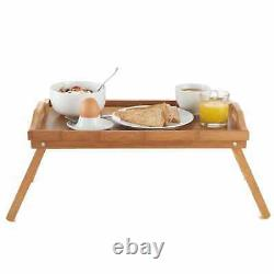 Wood Breakfast Food Tea Serving Tray Lap Table Over Bed Tray With Folding Legs