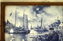 Wood Frame Serving Tray 6 Delft Blue Art Tiles Harbor Scene Signed J. C. Y. Hunvik