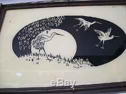 Wood Metal Glass Serving Tray with Crane Heron Herring Bird Vintage
