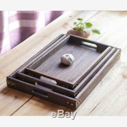 Wood Rectangular Tableware Serving Tray Decorative Food Holder Storage Tray