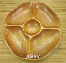 Wood Serving Bowl Tray Ando Oak Kitchen Décor Separate Compartments Condiment